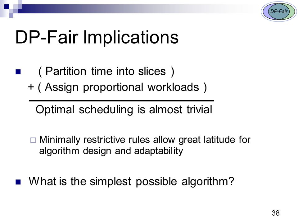 38 DP-Fair Implications ( Partition time into slices ) + ( Assign proportional workloads ) Optimal scheduling is almost trivial  Minimally restrictive rules allow great latitude for algorithm design and adaptability What is the simplest possible algorithm?