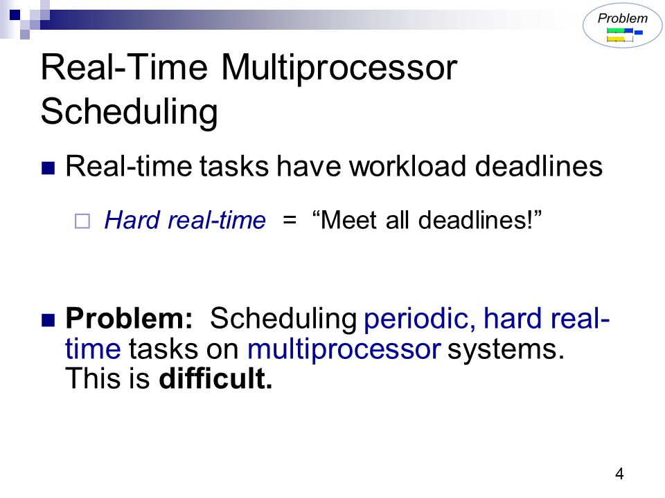 4 Real-Time Multiprocessor Scheduling Real-time tasks have workload deadlines  Hard real-time = Meet all deadlines! Problem: Scheduling periodic, hard real- time tasks on multiprocessor systems.