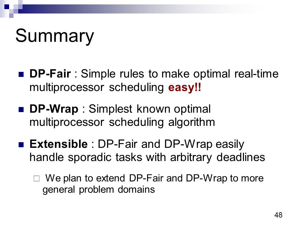 48 Summary DP-Fair : Simple rules to make optimal real-time multiprocessor scheduling easy!.