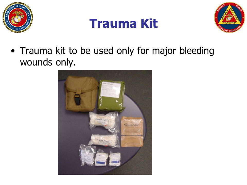 Trauma Kit Trauma kit to be used only for major bleeding wounds only.