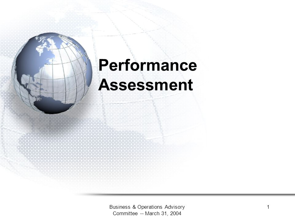 Business & Operations Advisory Committee -- March 31, 2004 1 Performance Assessment