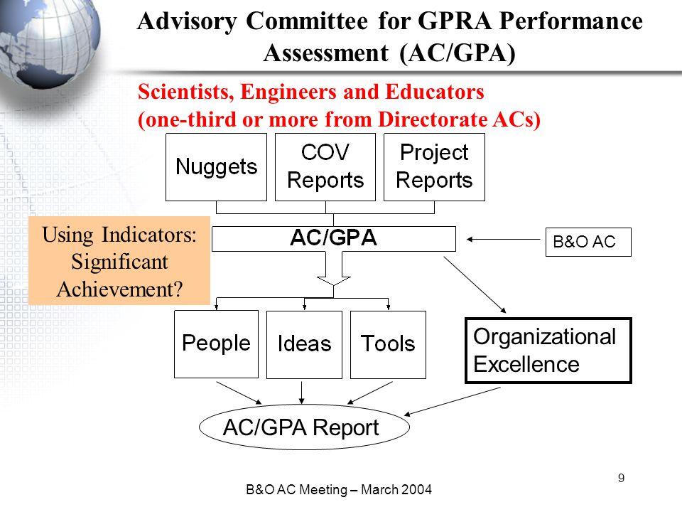 B&O AC Meeting – March 2004 9 Advisory Committee for GPRA Performance Assessment (AC/GPA) Using Indicators: Significant Achievement.