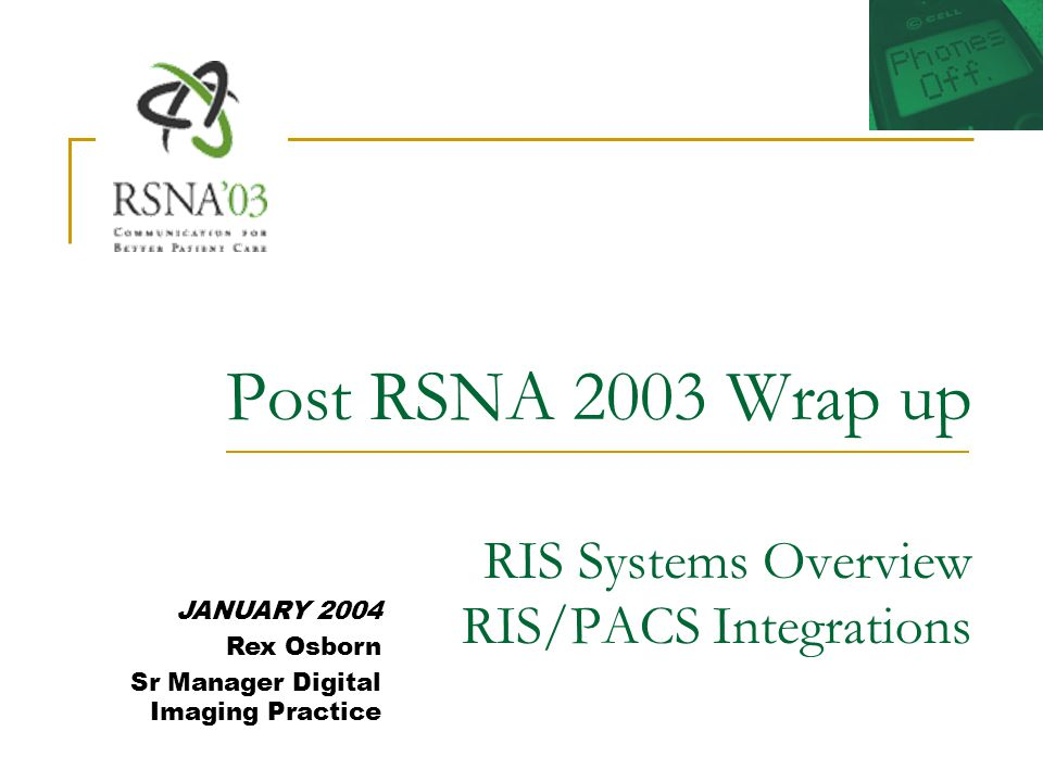 RIS Vendors Quick Review - RSNA 2004 Agfa HealthCare - Agfa highlights included a bi-directional interfaced RIS system with embedded VR technology (Talk Technology) at the Diagnostic Workstation.