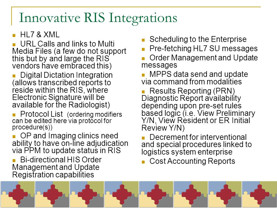 Innovative RIS Integrations HL7 & XML URL Calls and links to Multi Media Files (a few do not support this but by and large the RIS vendors have embrac