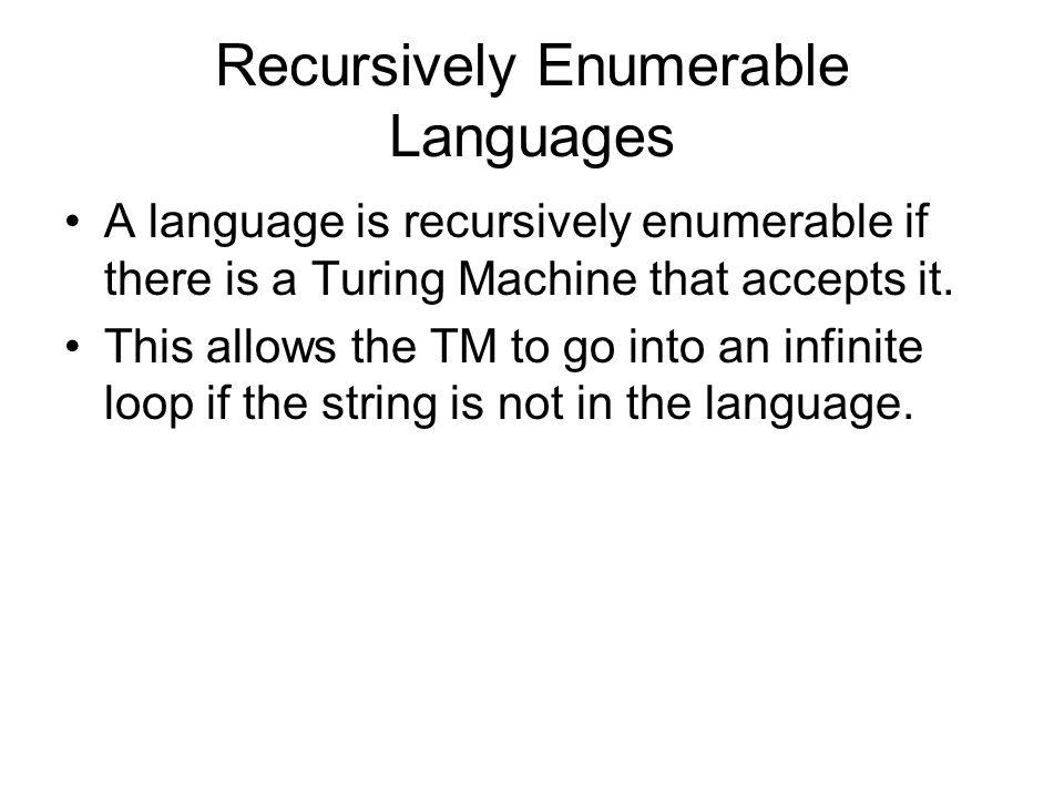 Recursively Enumerable Languages A language is recursively enumerable if there is a Turing Machine that accepts it.