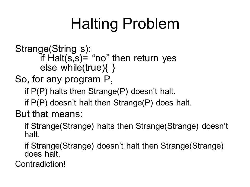 "Halting Problem Strange(String s): if Halt(s,s)= ""no"" then return yes else while(true){ } So, for any program P, if P(P) halts then Strange(P) doesn't"