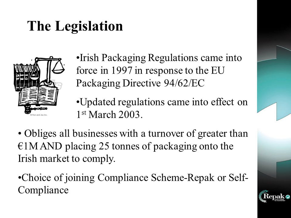 The Legislation Irish Packaging Regulations came into force in 1997 in response to the EU Packaging Directive 94/62/EC Updated regulations came into effect on 1 st March 2003.