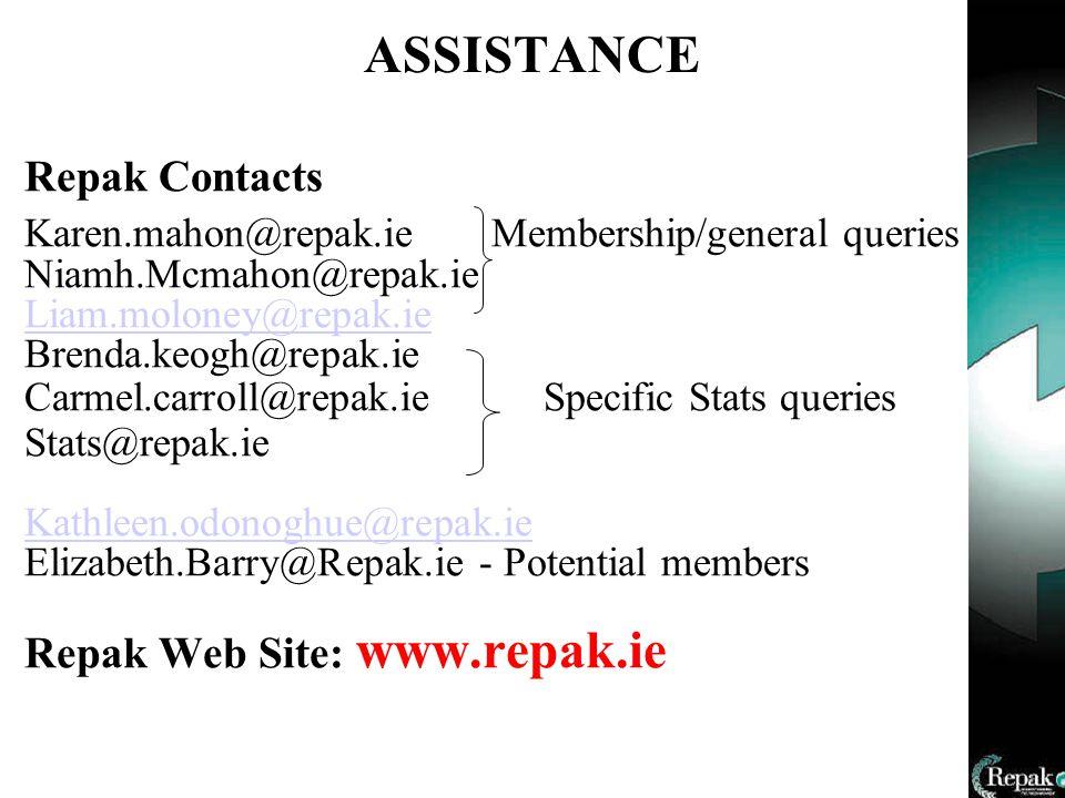 ASSISTANCE Repak Contacts Karen.mahon@repak.ie Membership/general queries Niamh.Mcmahon@repak.ie Liam.moloney@repak.ie Brenda.keogh@repak.ie Carmel.carroll@repak.ie Specific Stats queries Stats@repak.ie Kathleen.odonoghue@repak.ie Elizabeth.Barry@Repak.ie - Potential members Repak Web Site: www.repak.ie