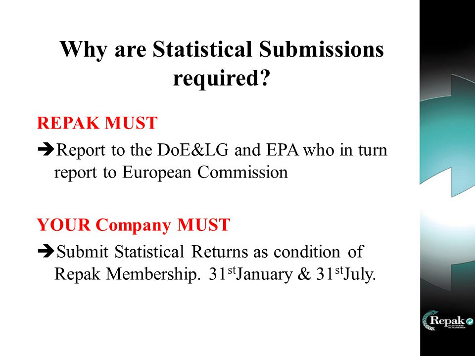 Why are Statistical Submissions required.