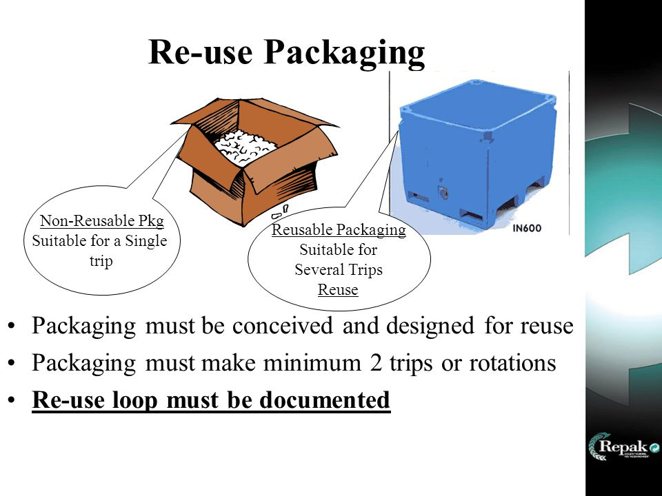 Re-use Packaging Packaging must be conceived and designed for reuse Packaging must make minimum 2 trips or rotations Re-use loop must be documented Non-Reusable Pkg Suitable for a Single trip Reusable Packaging Suitable for Several Trips Reuse