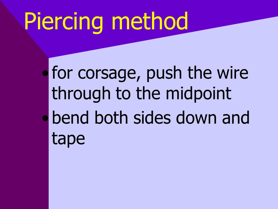 Piercing method for corsage, push the wire through to the midpoint bend both sides down and tape