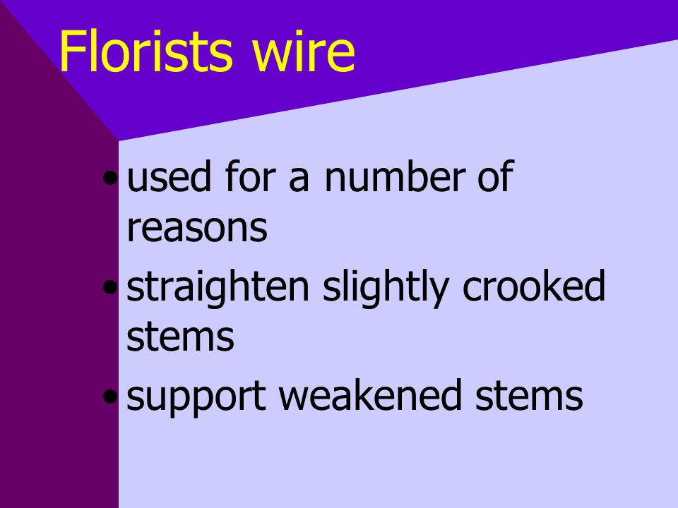 Florists wire used for a number of reasons straighten slightly crooked stems support weakened stems