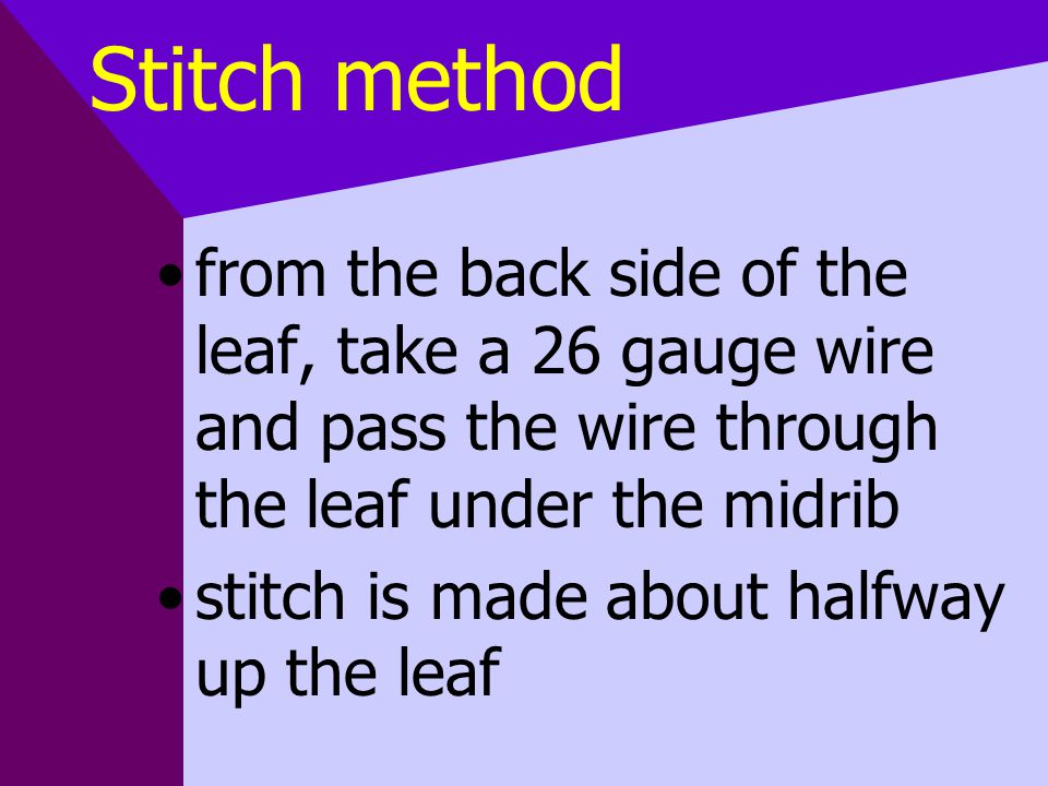 Stitch method from the back side of the leaf, take a 26 gauge wire and pass the wire through the leaf under the midrib stitch is made about halfway up the leaf