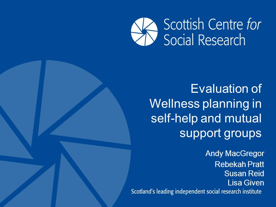 Evaluation of Wellness planning in self-help and mutual support groups Andy MacGregor Rebekah Pratt Susan Reid Lisa Given