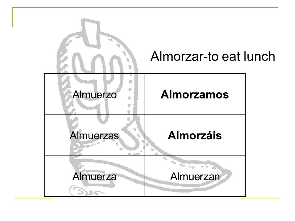 Almuerzo Almorzamos Almuerzas Almorzáis AlmuerzaAlmuerzan Almorzar-to eat lunch
