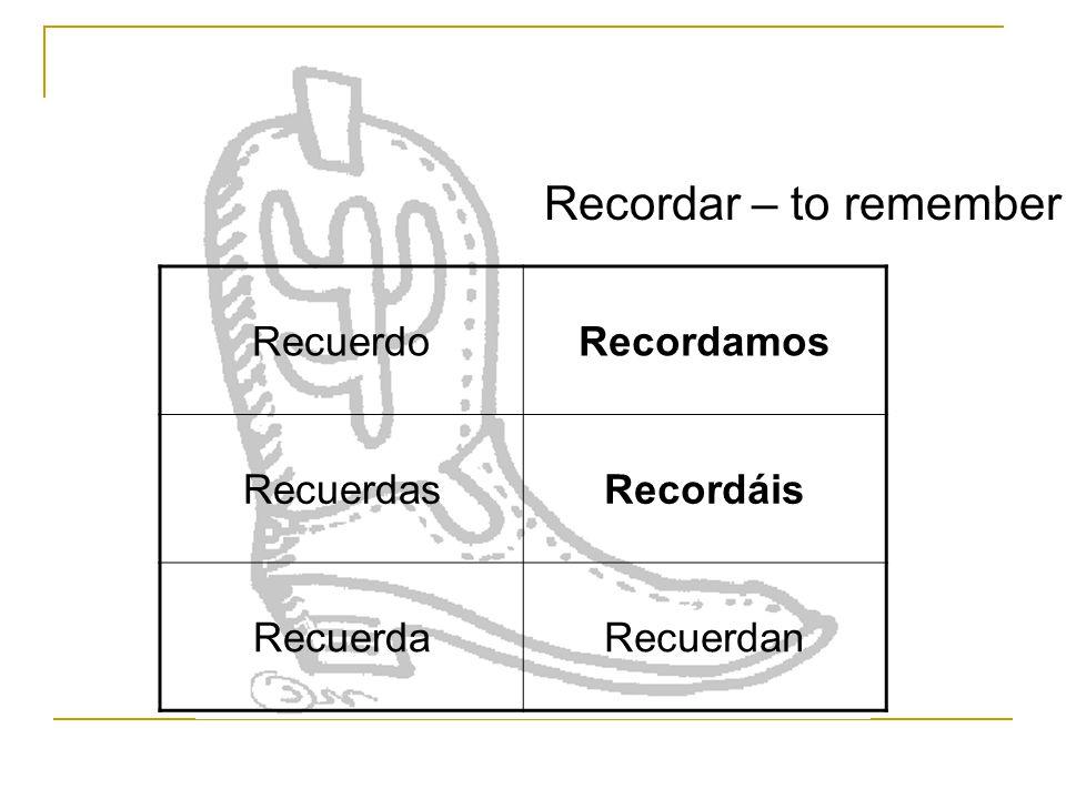 RecuerdoRecordamos RecuerdasRecordáis RecuerdaRecuerdan Recordar – to remember