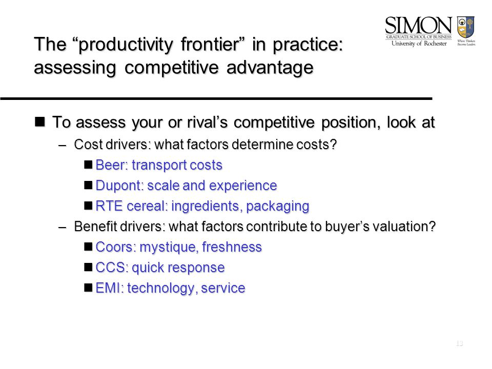 13 The productivity frontier in practice: assessing competitive advantage To assess your or rival's competitive position, look at To assess your or rival's competitive position, look at –Cost drivers: what factors determine costs.