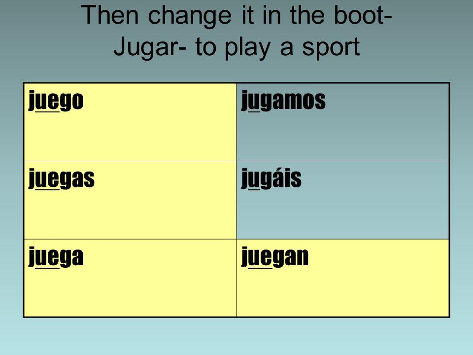 Then change it in the boot- Jugar- to play a sport juegojugamos juegasjugáis juegajuegan