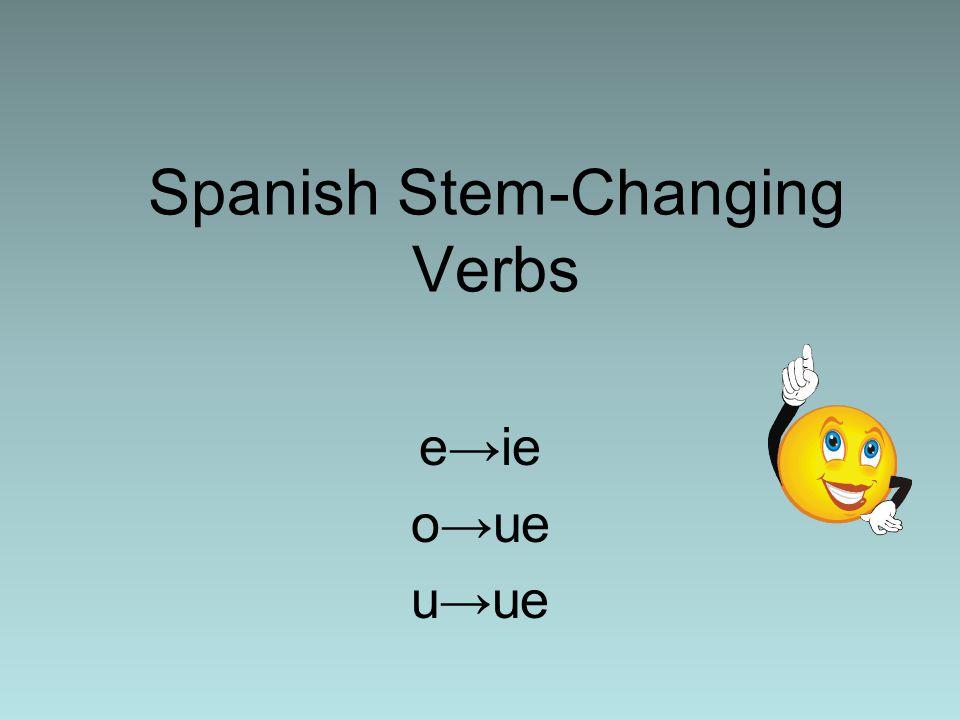 Spanish Stem-Changing Verbs e→ie o→ue u→ue