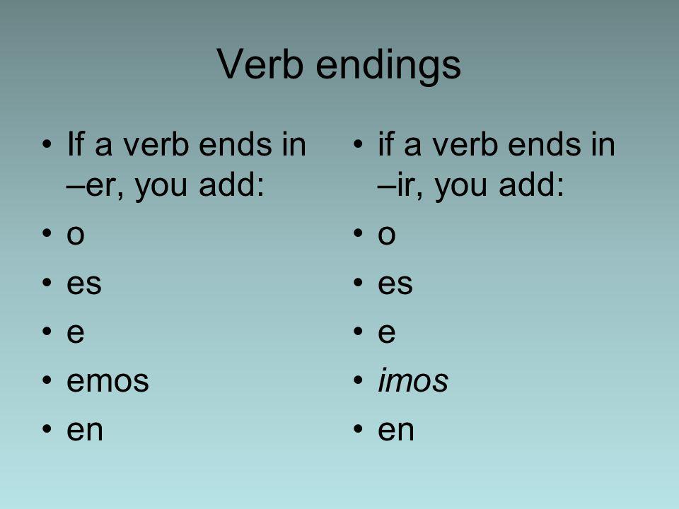 Verb endings If a verb ends in –er, you add: o es e emos en if a verb ends in –ir, you add: o es e imos en