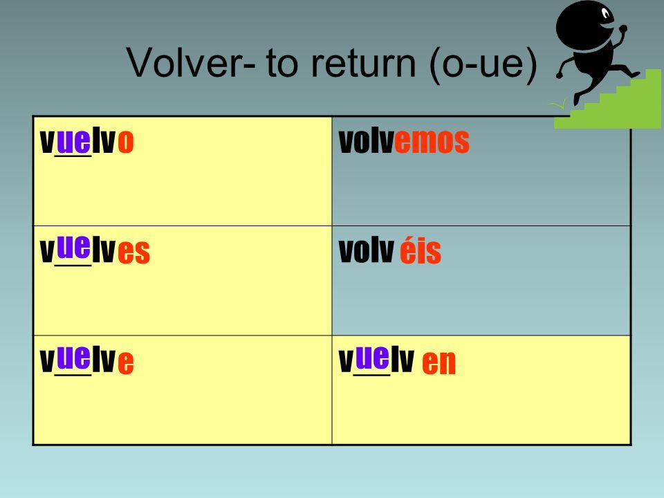 Volver- to return (o-ue) v__lvvolv v__lvvolv v__lv o es e emos en ue éis