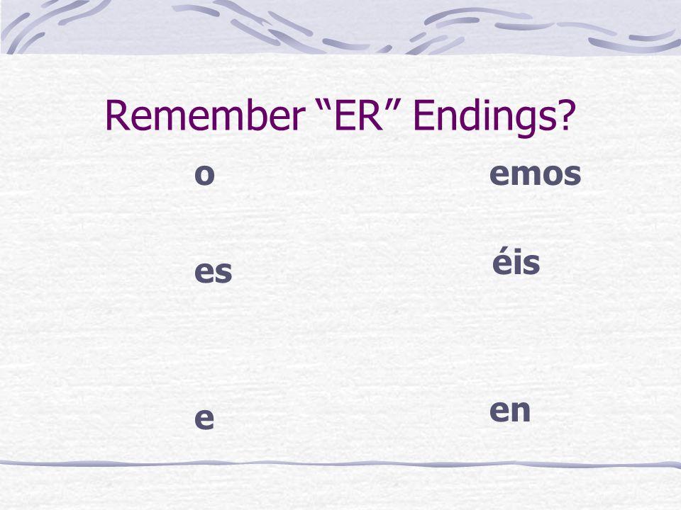 Remember ER Endings o es e emos éis en