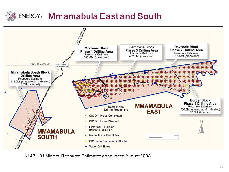 11 NI 43-101 Mineral Resource Estimates announced August 2008 Mmamabula East and South