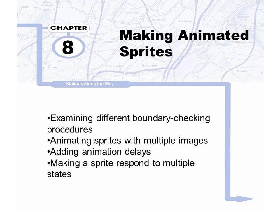 Making Animated Sprites (cont d) 8 Rotating and resizing an image Moving in multiple directions Calculating basic motion vectors Building a complex multi-state animated sprite Stations Along the Way