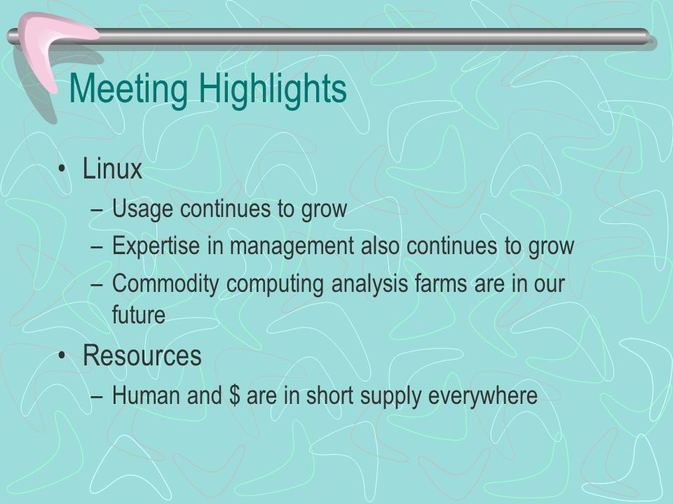 Meeting Highlights Linux –Usage continues to grow –Expertise in management also continues to grow –Commodity computing analysis farms are in our futur