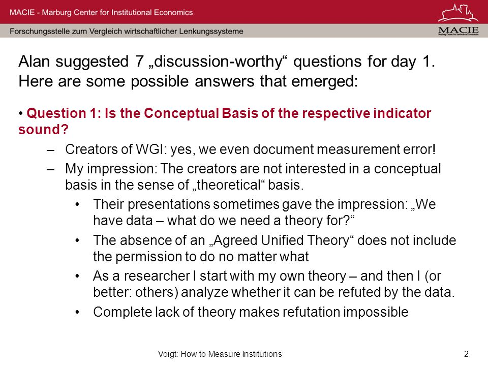"Voigt: How to Measure Institutions2 Alan suggested 7 ""discussion-worthy"" questions for day 1. Here are some possible answers that emerged: Question 1:"