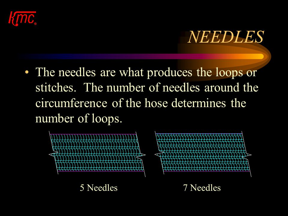 PRODUCT STRUCTURE The total feed determines the number of courses of knit on the diameter of the hose per revolution. The needles determine the lines