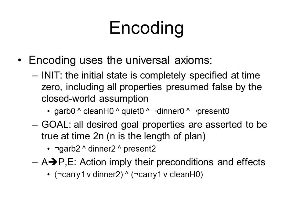 Encoding Encoding uses the universal axioms: –INIT: the initial state is completely specified at time zero, including all properties presumed false by