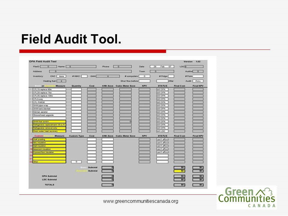www.greencommunitiescanada.org Field Audit Tool.
