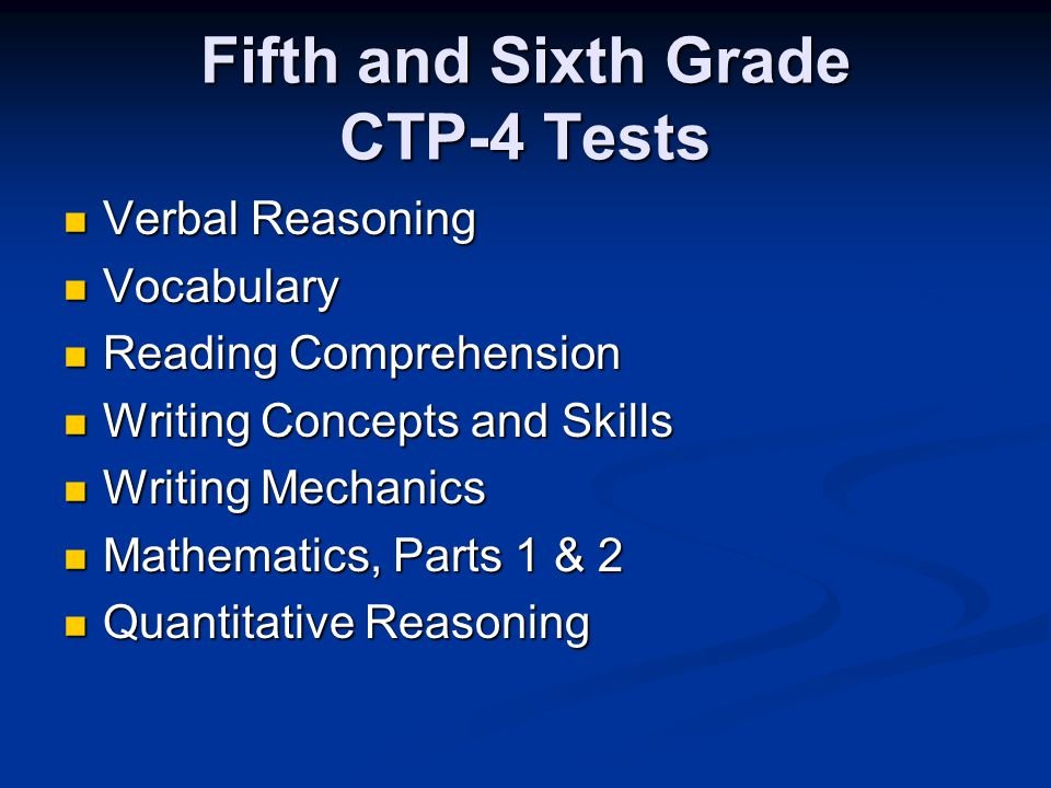Fifth and Sixth Grade CTP-4 Tests Verbal Reasoning Verbal Reasoning Vocabulary Vocabulary Reading Comprehension Reading Comprehension Writing Concepts and Skills Writing Concepts and Skills Writing Mechanics Writing Mechanics Mathematics, Parts 1 & 2 Mathematics, Parts 1 & 2 Quantitative Reasoning Quantitative Reasoning