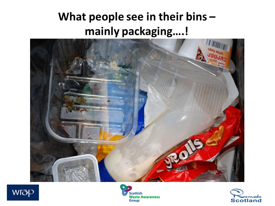 What people see in their bins – mainly packaging….!