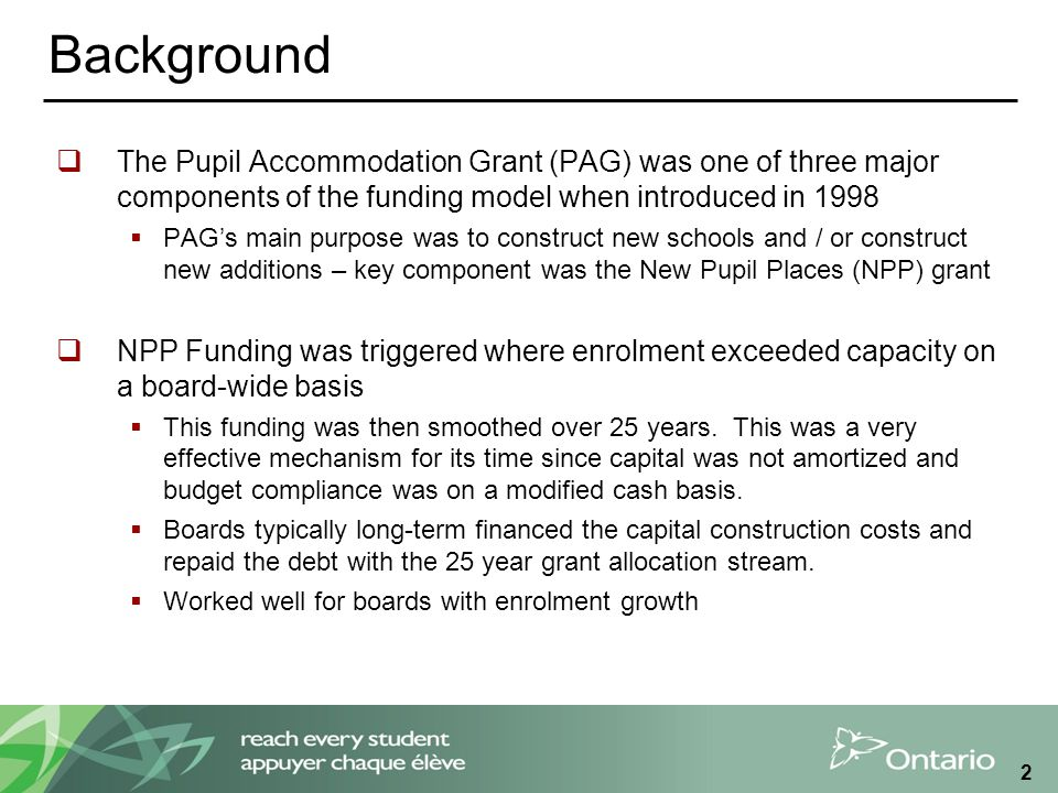 2 Background  The Pupil Accommodation Grant (PAG) was one of three major components of the funding model when introduced in 1998  PAG's main purpose