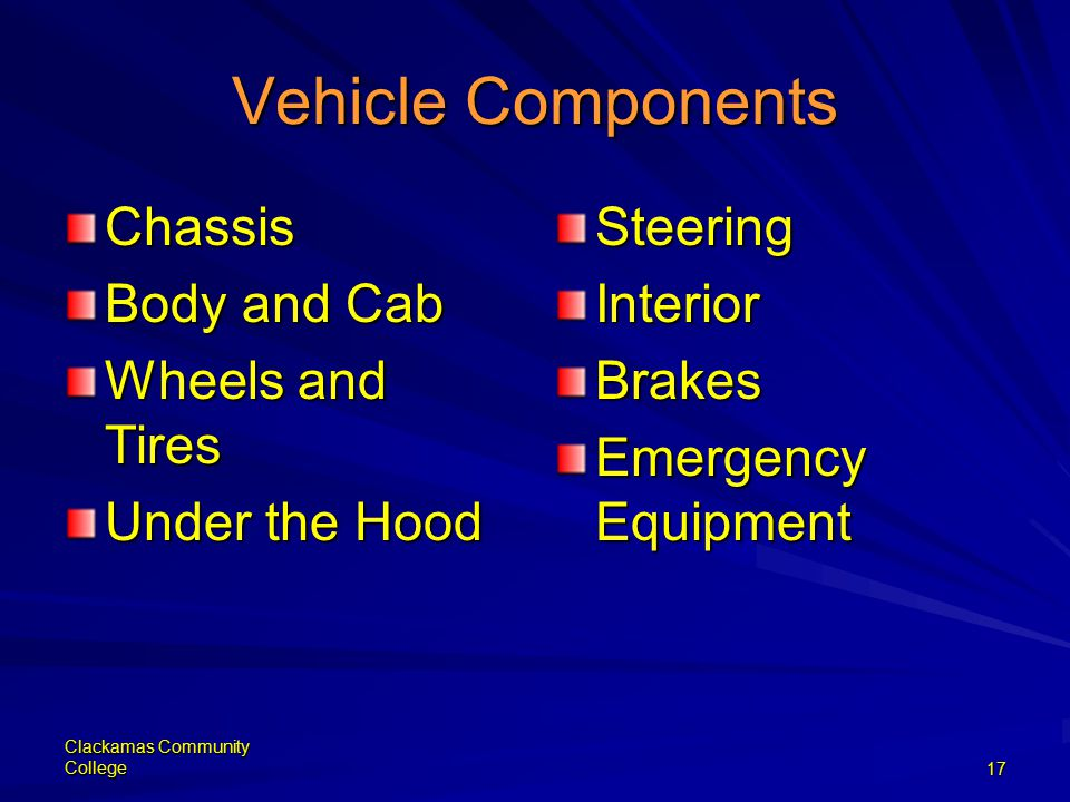 Clackamas Community College17 Vehicle Components Chassis Body and Cab Wheels and Tires Under the Hood SteeringInteriorBrakes Emergency Equipment