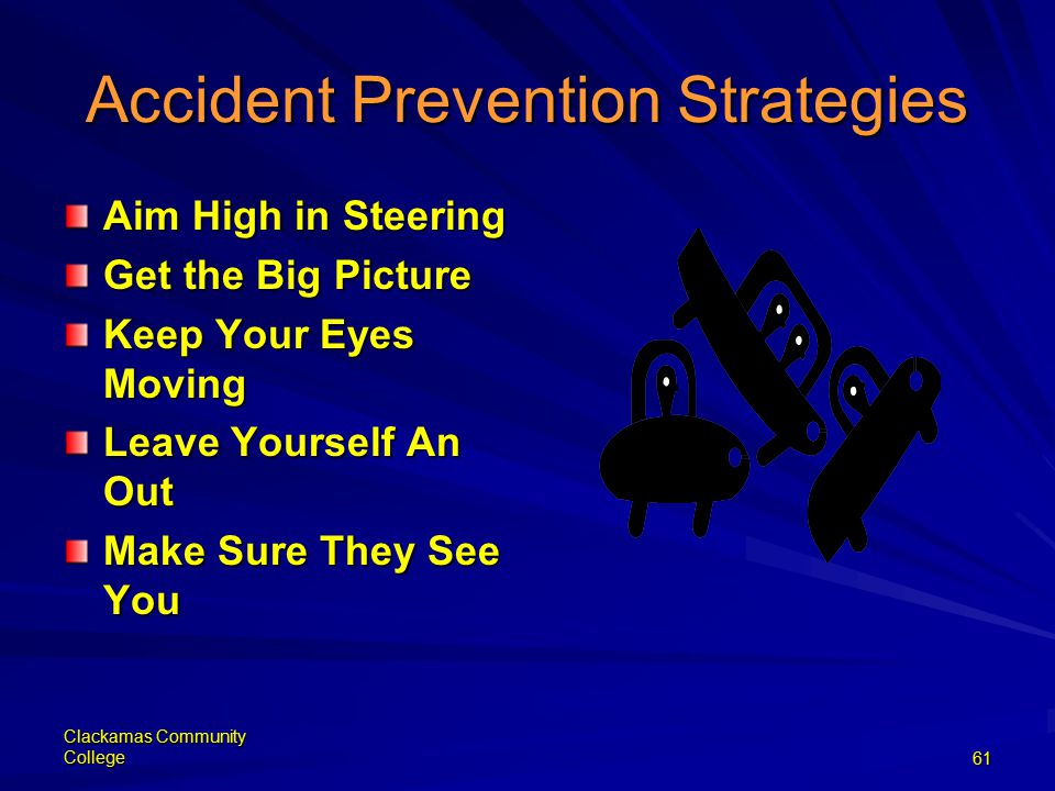 Clackamas Community College61 Accident Prevention Strategies Aim High in Steering Get the Big Picture Keep Your Eyes Moving Leave Yourself An Out Make Sure They See You