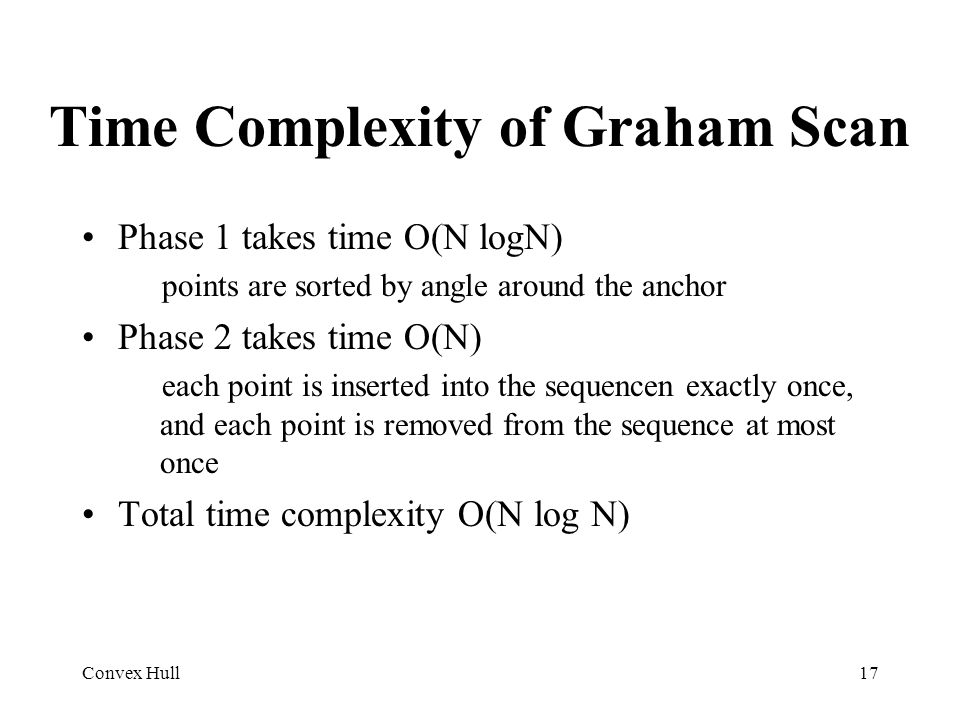 Convex Hull17 Time Complexity of Graham Scan Phase 1 takes time O(N logN) points are sorted by angle around the anchor Phase 2 takes time O(N) each po