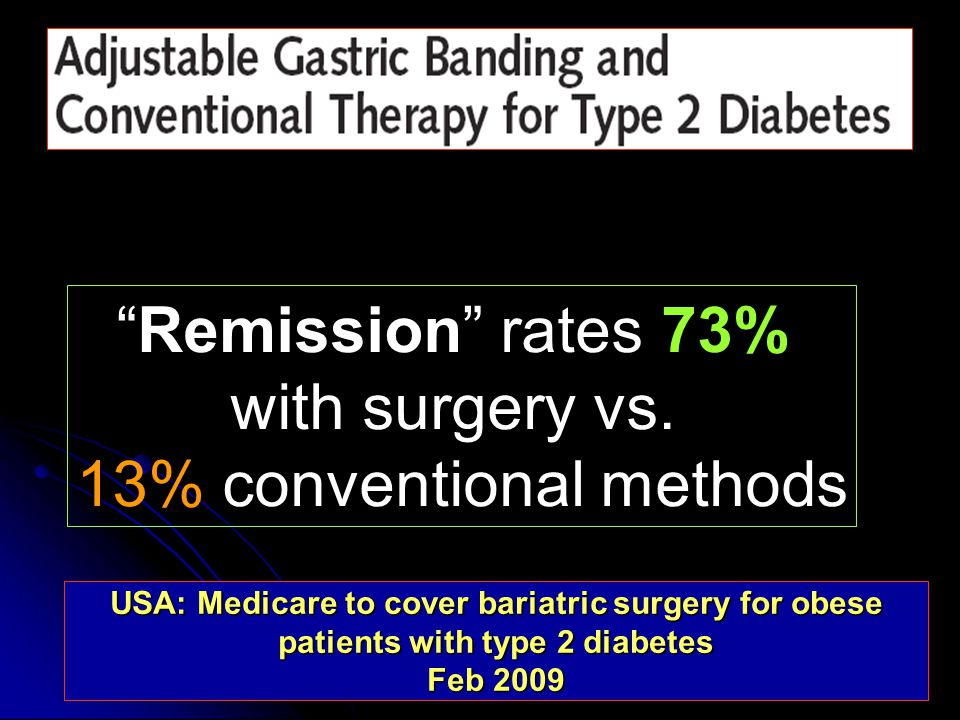 Remission rates 73% with surgery vs.