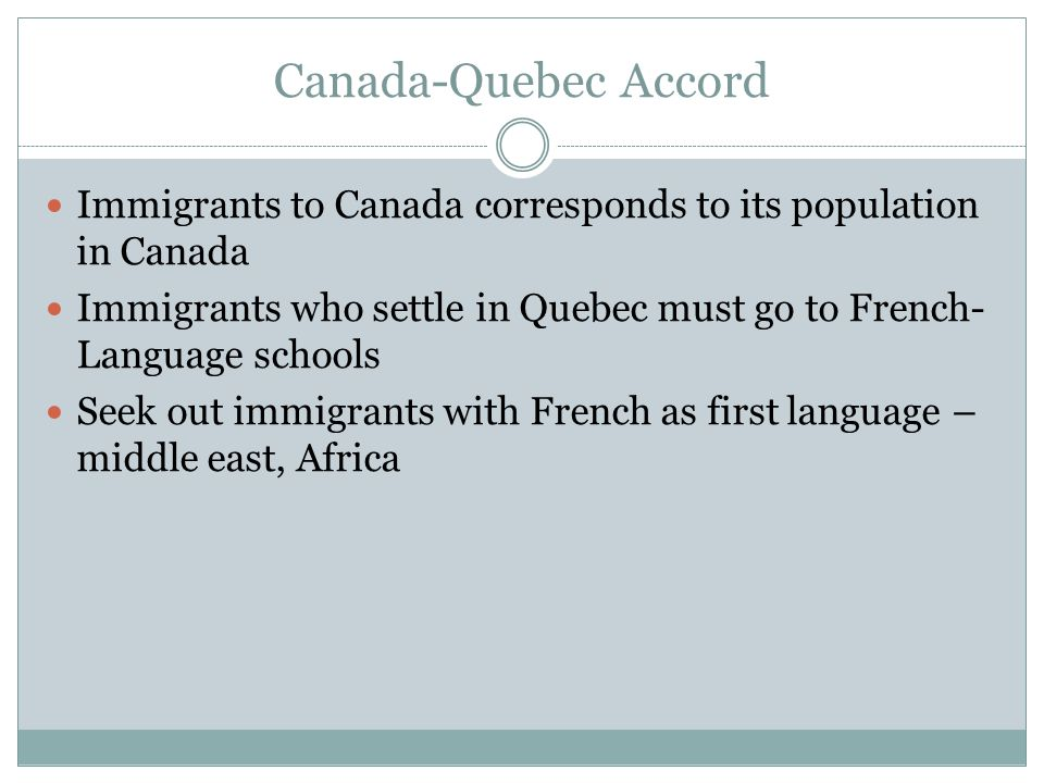 Canada-Quebec Accord Immigrants to Canada corresponds to its population in Canada Immigrants who settle in Quebec must go to French- Language schools Seek out immigrants with French as first language – middle east, Africa