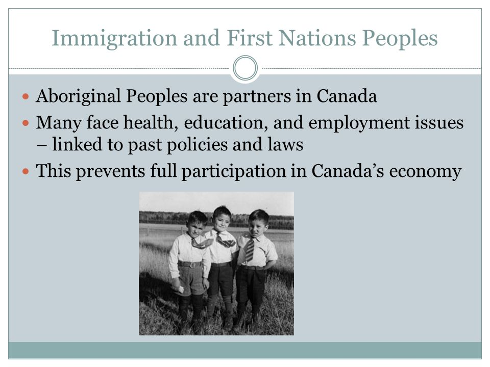 Immigration and First Nations Peoples Aboriginal Peoples are partners in Canada Many face health, education, and employment issues – linked to past policies and laws This prevents full participation in Canada's economy