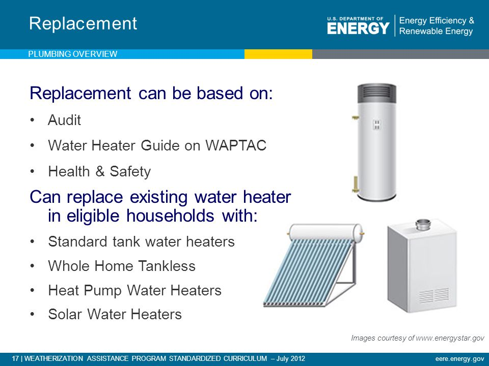 17 | WEATHERIZATION ASSISTANCE PROGRAM STANDARDIZED CURRICULUM – July 2012eere.energy.gov Replacement can be based on: Audit Water Heater Guide on WAPTAC Health & Safety Can replace existing water heater in eligible households with: Standard tank water heaters Whole Home Tankless Heat Pump Water Heaters Solar Water Heaters Replacement Images courtesy of www.energystar.gov PLUMBING OVERVIEW