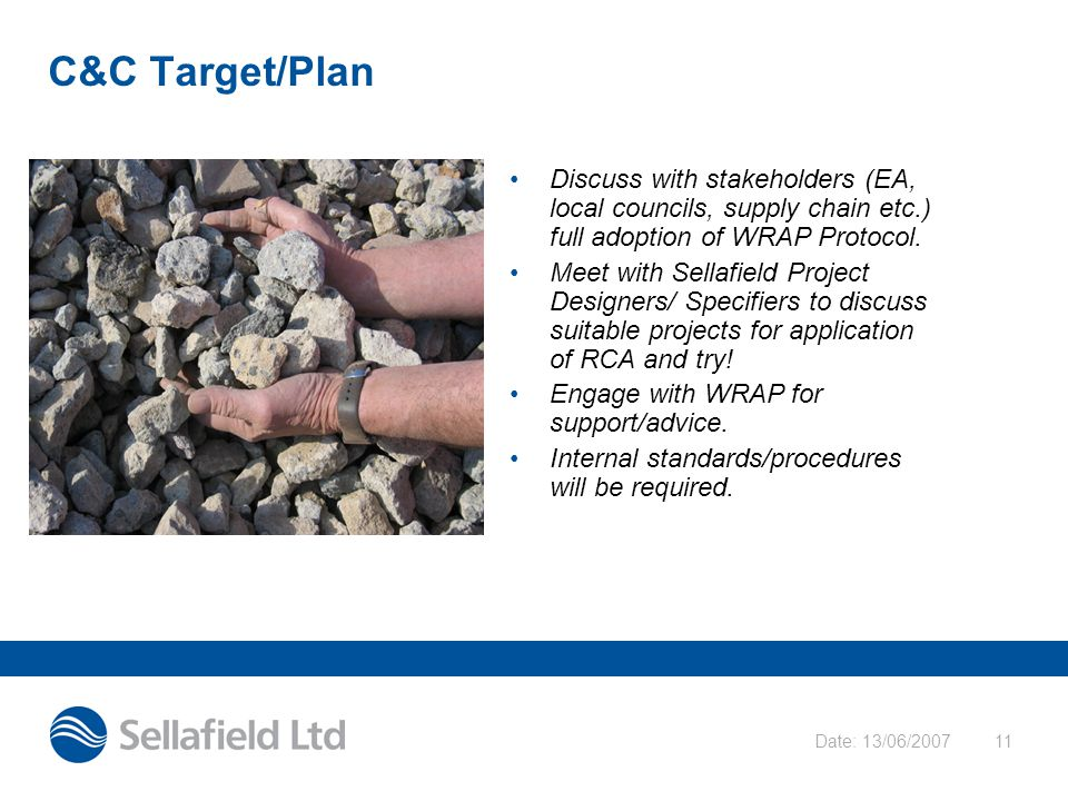 Date: 13/06/200711 C&C Target/Plan Discuss with stakeholders (EA, local councils, supply chain etc.) full adoption of WRAP Protocol. Meet with Sellafi