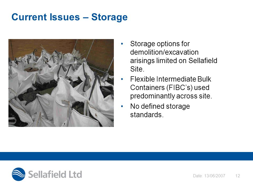 Date: 13/06/200712 Current Issues – Storage Storage options for demolition/excavation arisings limited on Sellafield Site.