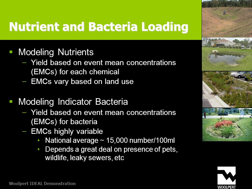Woolpert IDEAL Demonstration Nutrient and Bacteria Loading  Modeling Nutrients − Yield based on event mean concentrations (EMCs) for each chemical − EMCs vary based on land use  Modeling Indicator Bacteria − Yield based on event mean concentrations (EMCs) for bacteria − EMCs highly variable National average ~ 15,000 number/100ml Depends a great deal on presence of pets, wildlife, leaky sewers, etc
