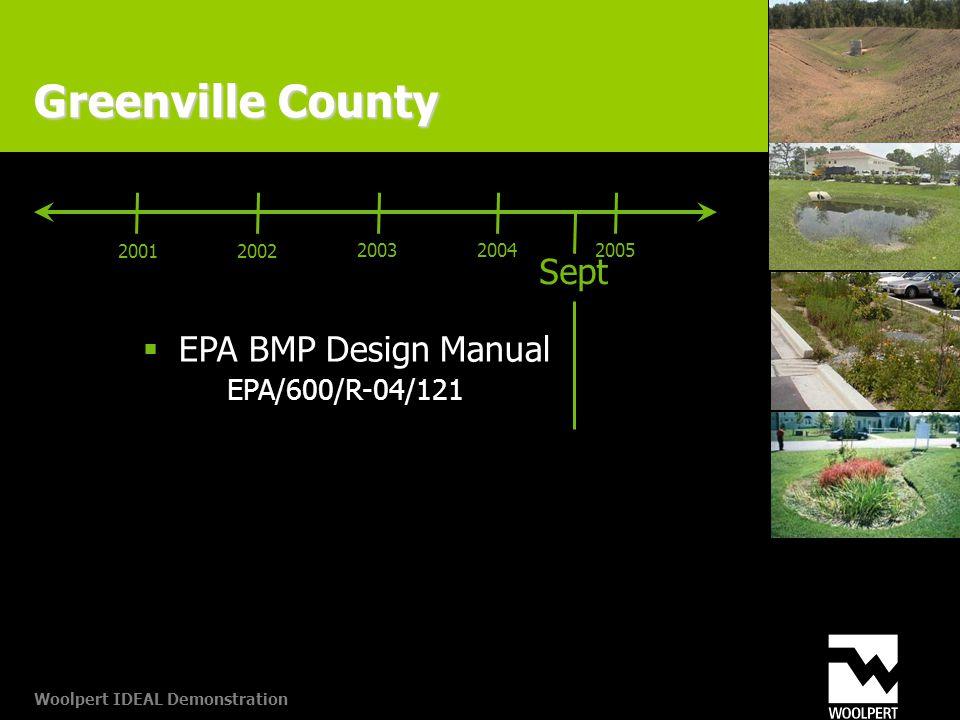 Woolpert IDEAL Demonstration Greenville County Sept 20012002 20032005  EPA BMP Design Manual EPA/600/R-04/121 2004