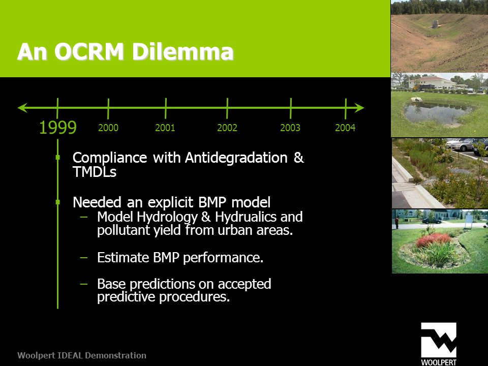 Woolpert IDEAL Demonstration An OCRM Dilemma  Compliance with Antidegradation & TMDLs  Needed an explicit BMP model −Model Hydrology & Hydrualics and pollutant yield from urban areas.