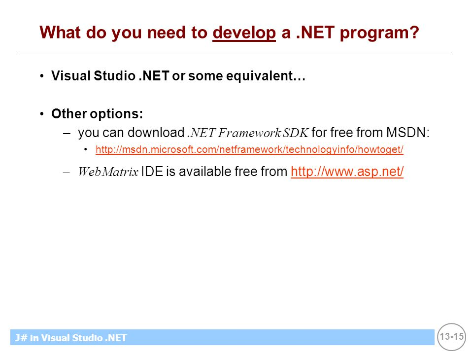 13-15 MicrosoftIntroducing CS using.NETJ# in Visual Studio.NET What do you need to develop a.NET program.