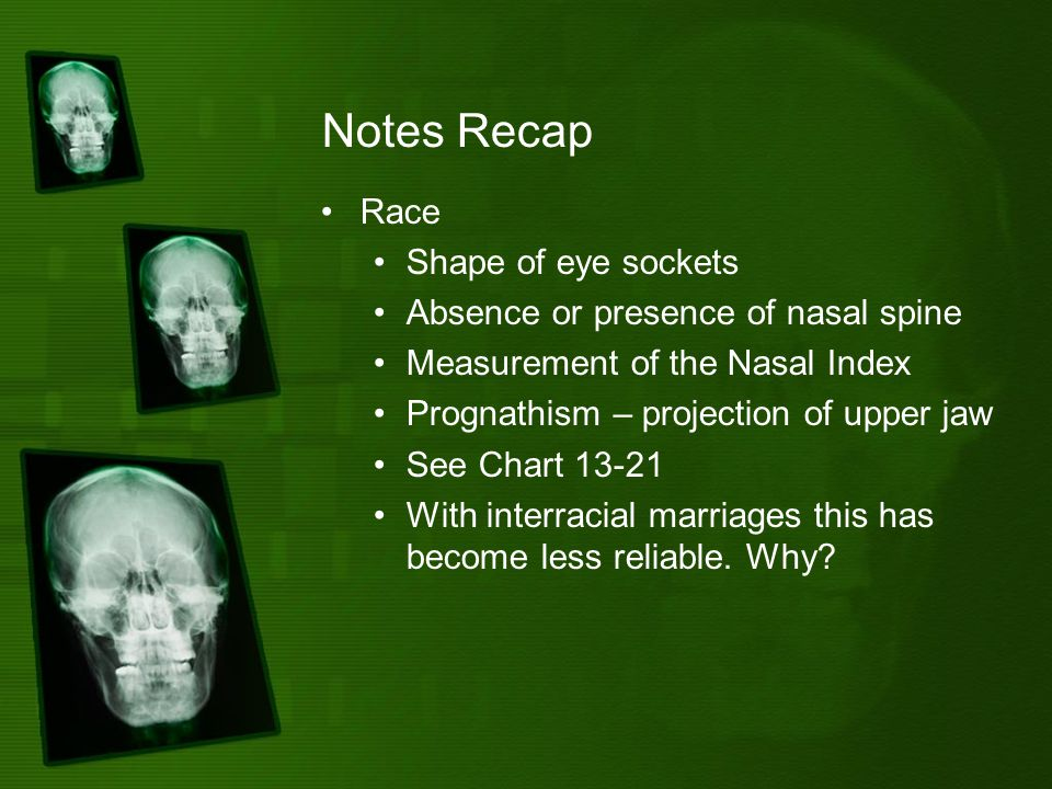 Notes Recap Race Shape of eye sockets Absence or presence of nasal spine Measurement of the Nasal Index Prognathism – projection of upper jaw See Chart 13-21 With interracial marriages this has become less reliable.